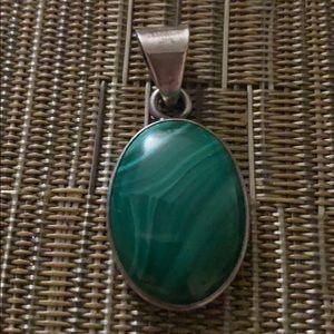 Jewelry - Sterling silver malachite stone pendant